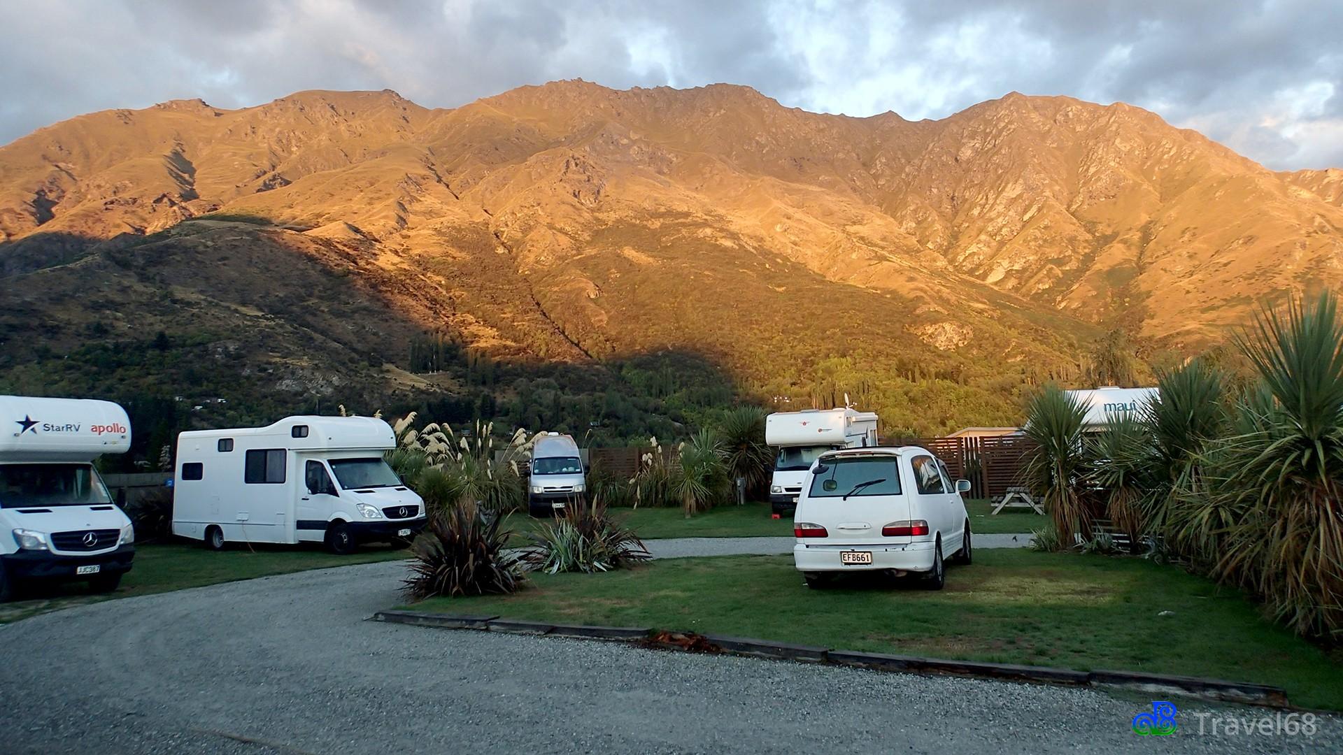 Het uitzicht 's ochtends op de camping