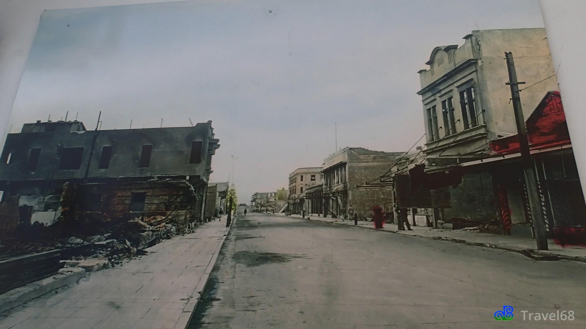 Een foto hoe het eruit zag na de aardbeving van 1931
