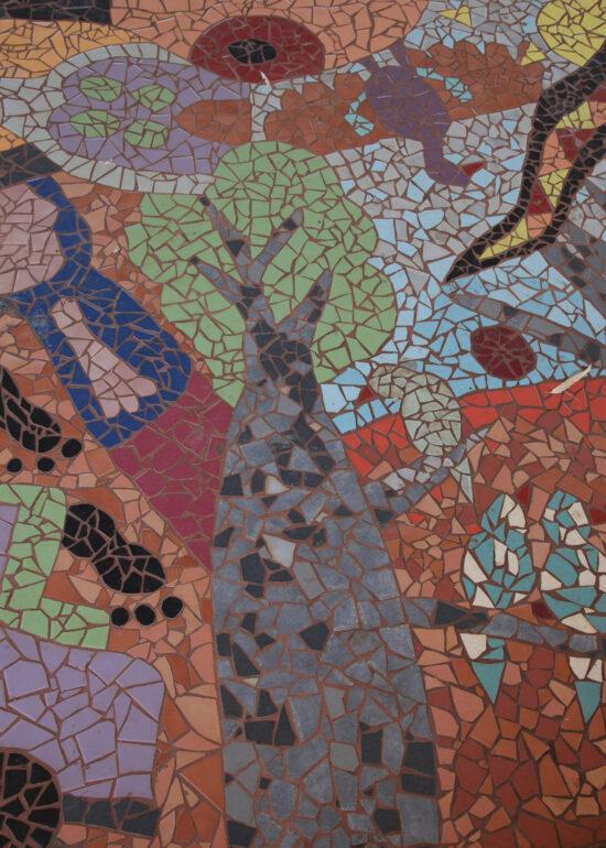 Detail van het aboriginal mozaiek bij de Jetty