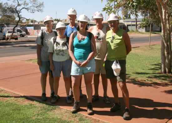 Rio Tinto mijn: vlnr Heini, Mea, Henk, Nicky, Peter en Henk