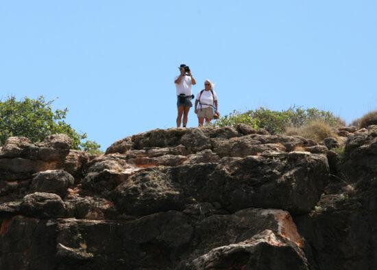 Alwin en Michelle op de rotsen bij Yardie Creek