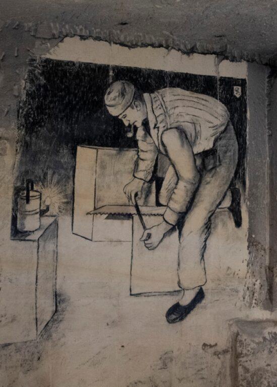Tekening van een bloksnijder